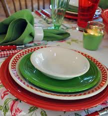 fiesta americas diner bistro collection scarlet checd plate red and green
