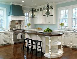 Light Blue Kitchen See My Home At The Cottage Market Islands Blue Kitchen Cabinets