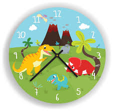 dinosaurs and volcano wall clock for kids room 11 diameter