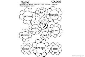 Sight Word Coloring Pages Flowers And Bee Worksheets Free