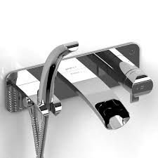 riobel salome wall mount thermostatic open spout tub filler