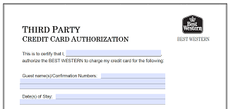 Credit Card Release Form Download Best Western Credit Card Authorization Form Template Pdf