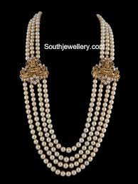 Laxmi Pearls Designs South Sea Pearls Mala With Lakshmi Side Pendants Indian
