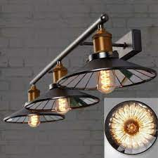 Industrial Vanity Lighting Vintage Bathroom Mirror Led Wall Light Metal Shades Ebay