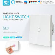 Satın Al WiFi Işık Anahtarı 1 Diş Duvar Cam Panel Dokunmatik Akıllı Ev Için  Uzaktan Kumanda Anahtarı LED Işıkları Anahtarı, TL133.2