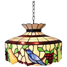 large stained glass chandelier birds fruit light fixture