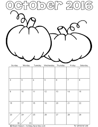 Small Picture Printable October 2016 Calendars Holiday Favorites