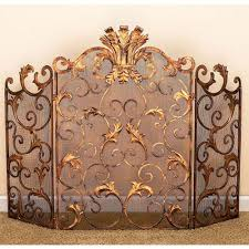 Unique fireplace screens Covers Antique Gold Acanthus Leaf Accent Fireplace Screen Bellacor Fireplace Screens Accessories Bellacor