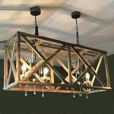 reclaimed wood chandelier crystal