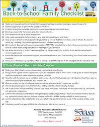 Checklist For School Back To School National Association Of School Nurses