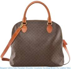 designer céline fake macadam shoulder cross handbag brown pvc leather tote replica handbags