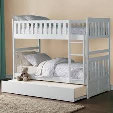Galen White Wood Twin/Twin Bunk Bed w/Trundle by Homelegance
