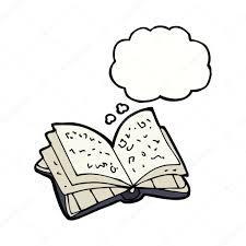 Livre Ouvert Dessin Anim Avec La Bulle De Pens E Image