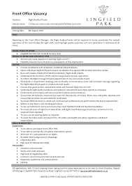 Awesome Collection Of 100 Front Office Duty Manager Resume