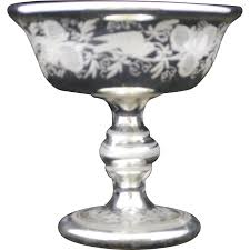 victorian mercury glass compote candy dish or nut bowl hazen howard ruby lane
