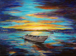 professional factory whole high quality hand painted abstract landscape single boat at middle sea oil painting on canvas in painting calligraphy from