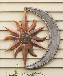 copper sun moon wall art
