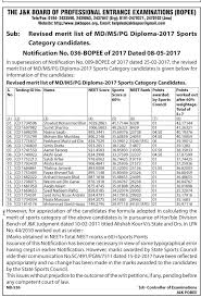 revised merit list of md ms pg diploma sports category  revised merit list of md ms pg diploma 2017 sports category candidates jkbopee