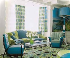 Yellow And Blue Living Room Living Room Gray Sofa White Shelves Brown Chairs Gray Recliners