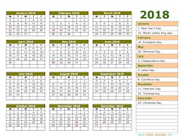 yearly printable calendar 2018 printable 2018 calendar