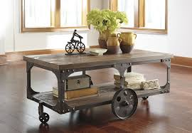 ... Coffee Table, Glamorous Grey Rectangle Wood Industrial Cart Coffee Table  With Storage And On Wheels