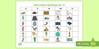 Pdf phonics ir er ur worksheets with ur words for kids to practice writing ur sound and er phonics three times. Alternative Spellings Er Ur Ir Ear Or Table Worksheet