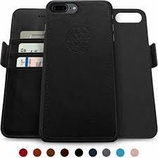 iphone 7 8 case slim vegan leather wallet magnetic detachable tpu cover black
