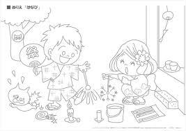 ぬりえ 夏の季節行事 2幼児教材知育プリントちびむすドリル