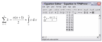 creating an expression using microsoft equation 3 0