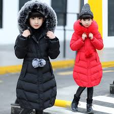 details about winter girls kids padded quilted coats puffer jackets big fur hooded long parka