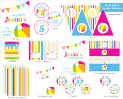Diy Party Printables Pool Party Printables Package Diy Pool Birthday Party