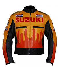 suzuki repsol motorcycle michelin fire flame racing leather jacket