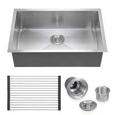 voilamart stainless steel kitchen sink 28 x 18 single bowl 18 gauge undermount topmount flushmount handmade laundry utility sink