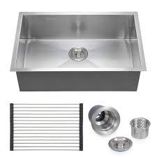 voilamart stainless steel kitchen sink 28 x 18 single bowl 18 gauge undermount topmount flushmount handmade laundry utility sink