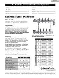 Watts Manifolds Spec Sheet | Pipe (Fluid Conveyance) | Valve