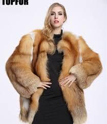 new fashion real geunine red fox fur coat jacket pocket women s overcoat parka