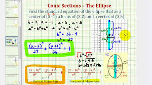 ex find the equation of an ellipse given the center focus and vertex vertical