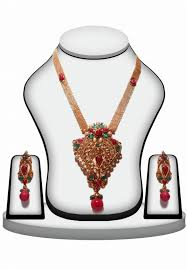 pendant set in red and green stones with earrings zoom