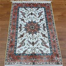 camel carpet handmade silk white and pink affordable oriental rugs persian style