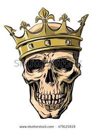 vector skull with <b>crown</b> on white background | Рисунок короны ...