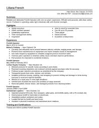 Certified Forklift Operator Resume Example