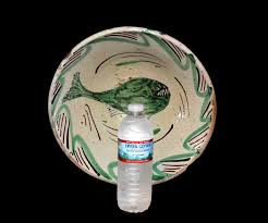 sharp teeth. antique earthenware bowl tin glazed with sharp teeth fish c1800 teruel spain
