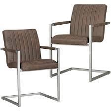 2er Set Retro Esszimmerstühle Mikrovelour Braun Küchenstühle Freischwinger
