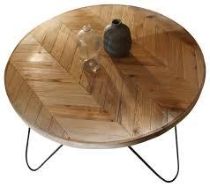 chevron round wood coffee table