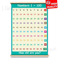 100 Chart Poster Details About Number 1 To 100 Childrens Wall Chart Learning To Count Poster A4 A3 A2 A1