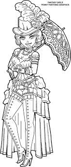 Steampunk Coloring Page From Fantasy Girls Femme Fatales