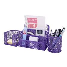 com crystallove set of 3 purple metal mesh desktop supplies organizer office s