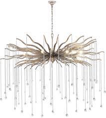 elegant lighting 1539g48das willow 8 light 48 inch drizzled antique sliver chandelier ceiling light urban classic