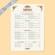 Cafe Menu Templates Free Download Word Dlword