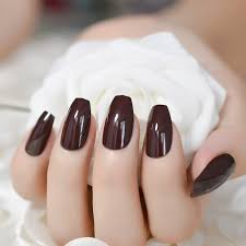 Classic Design Nails Us 1 36 20 Off 24pcs Chocolate Medium Candy Nails Coffin Classic Design Acrylic False Nails Diy Nail Art Full Cover Manicure In False Nails From